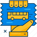 blue, bus, hand, orange, ticket, transportation, travel icon