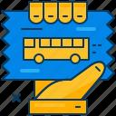 blue, bus, hand, orange, ticket, transportation, travel icon