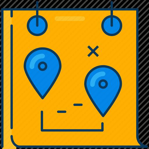 calendar, location, management, orange, pin, plan, travel icon