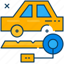 blue, car, key, orange, rent, transportation, travel icon