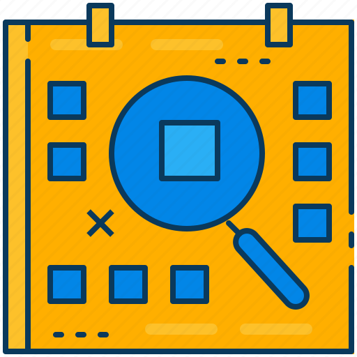 calendar, day, finding, glass, magnifying, search, travel icon
