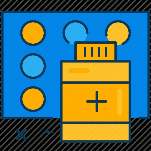 blue, drug, medicine, orange, pill, travel icon