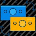 blue, exchange, money, orange, transfer, travel icon