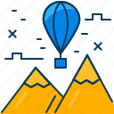 balloon, blue, float, mountian, orange, travel, view icon