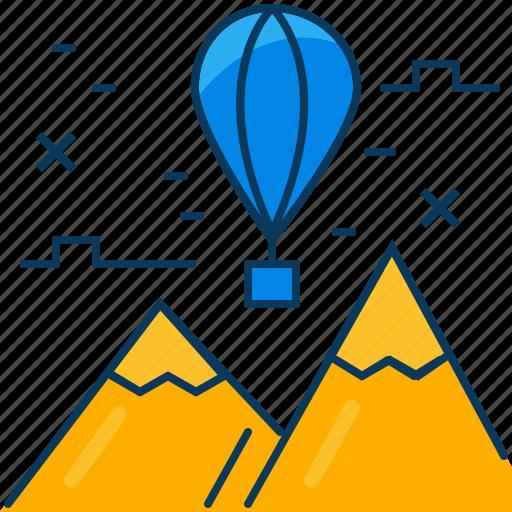 balloon, blue, float, mountian, orange, travel, view icon