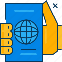 blue, hand, orange, passport, travel icon