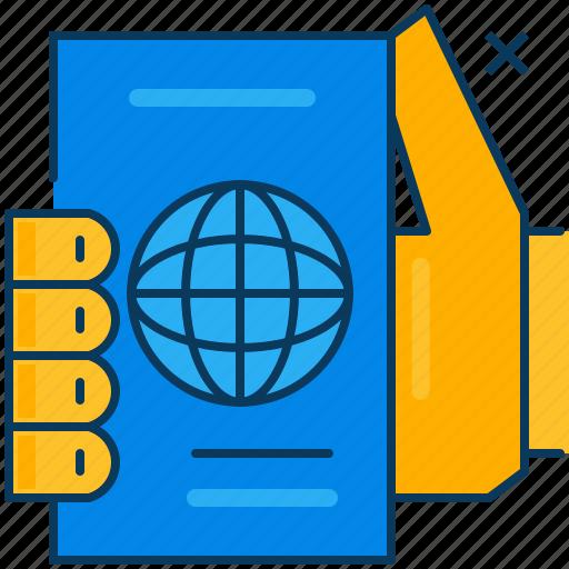 blue, hand, orange, passport, travel icon