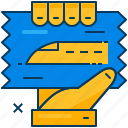 hand, metro, railway, ticket, train, transportation, travel icon