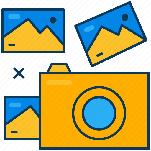 blue, camera, orange, photo, picture, shoot, travel icon