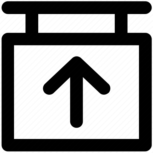 direction sign, directional arrow, hanging sign, info sign, up arrow icon