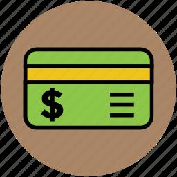 bank card, credit card, debit card, money card, plastic money, visa card icon