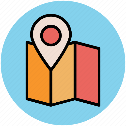 gps, location pin, map, map navigation, map pin, map pointer, unfolded map icon