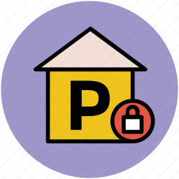car garage, car parking, garage, garage locked, parking, parking area icon