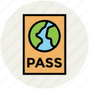 passport, tourism, travel, travel id, travel permit, visa, world passport icon