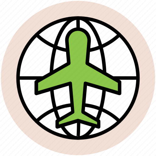 aeroplane, airplane, flight, international flight, plane, travel, world tour icon