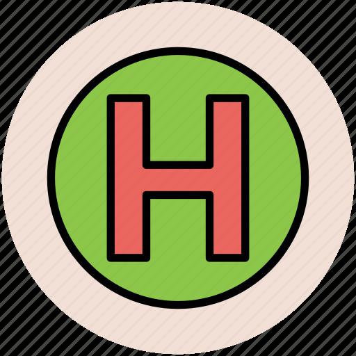 health clinic, hospital, hospital sign, letter h, medical center icon