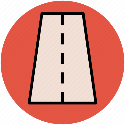 highway, pathway, road, route, straight road, travel icon