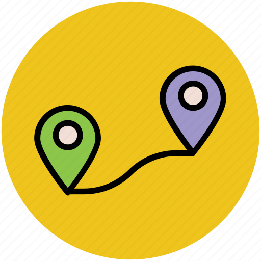 gps, location pin, location pointer, location tracker, map pin, navigation, travel distance icon