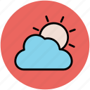 cloud, cloudy day, sun, sunny cloud, sunny day icon