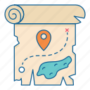 holiday, map, pin, place, travel, treasure, vacation icon