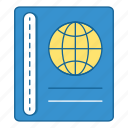 book, documents, holiday, journal, passport, travel, vacation icon