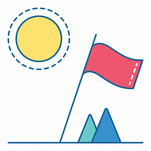 flag, hiking, holiday, mountain, sun, travel, vacation icon