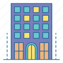 apartment, architecture, building, city, hotel, travel, vacation icon