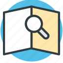 book, book view, encyclopedia, magnifier, search icon
