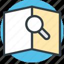 book, book view, encyclopedia, magnifier, search icon