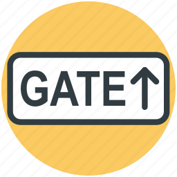 direction, gate, information, sign with direction, up arrow icon