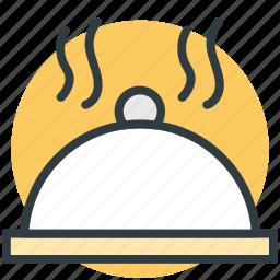 food serving, hotel serving, restaurant, serving platter, steam icon