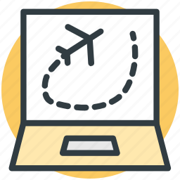 airplane on screen, laptop, laptop pc, laptop screen, personal computer icon