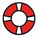 boat, lifebuoy, round, safety, support icon