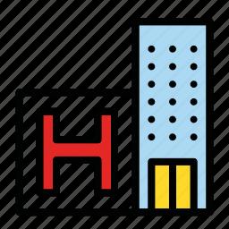 build, building, hospital, hotel icon