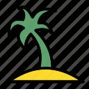 beach, island, palm, resort, sun icon