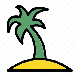 beach, island, palm, resort, sun icon