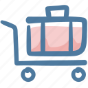 baggage, hotel, luggage, luggage cart, suitcase, travel icon