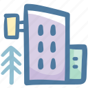 building, camping, hostel, hotel, travel, tree, vacation icon