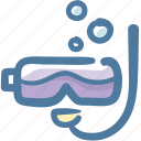 beach, diving mask, holidays, snorkeling, travel, under sea icon