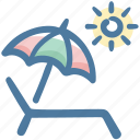 beach, beach chair, beach umbrella, chair, travel, umbrella icon
