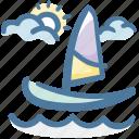 summer, sailboat, travel, sail, sea, holiday, boat