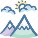 mountain, mountains, nature, outdoor, snow, vacation, winter icon