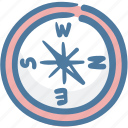 compass, direction, location, map, navigation, travel icon