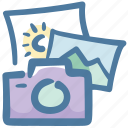 camera, doodle, photos, travel, vacation icon