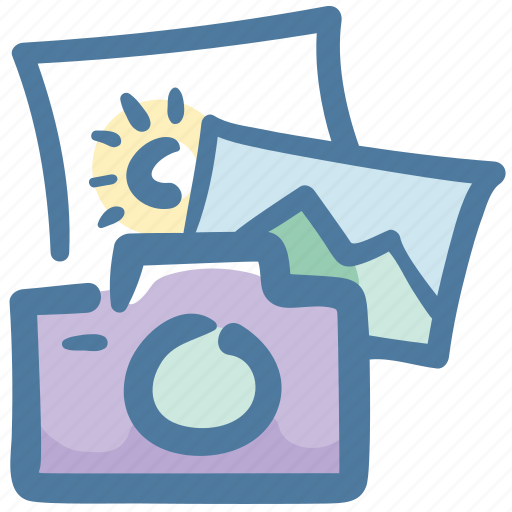 camera, doodle, photos, travel, vacation icon