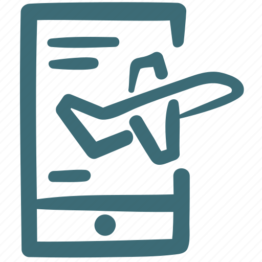 booking, doodle, mobile, online, travel icon
