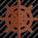 flat, marine, sailboat, sheering wheel, ship, travel icon
