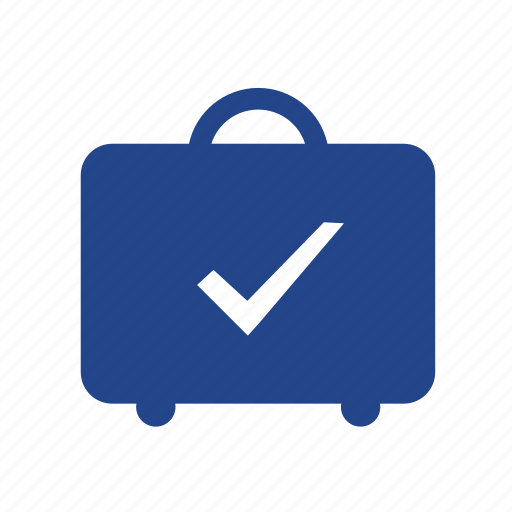 baggage, booking, checked, luggage, ok, travel, trip icon