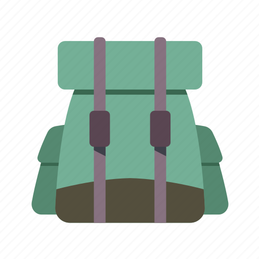 adventure material, backpack, baggage, luggage, travel icon