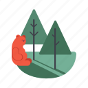 bear, ecosystem, forest, national park, wild life icon